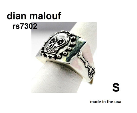 sterling silver square top skull ring with beads around skull arms down side