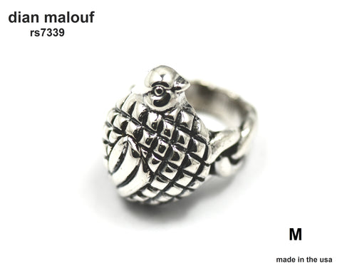 sterling silver quail ring with feather and hammered shank