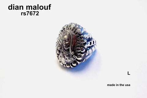 Large oval sterling silver Virgin ring with classic dian malouf shank