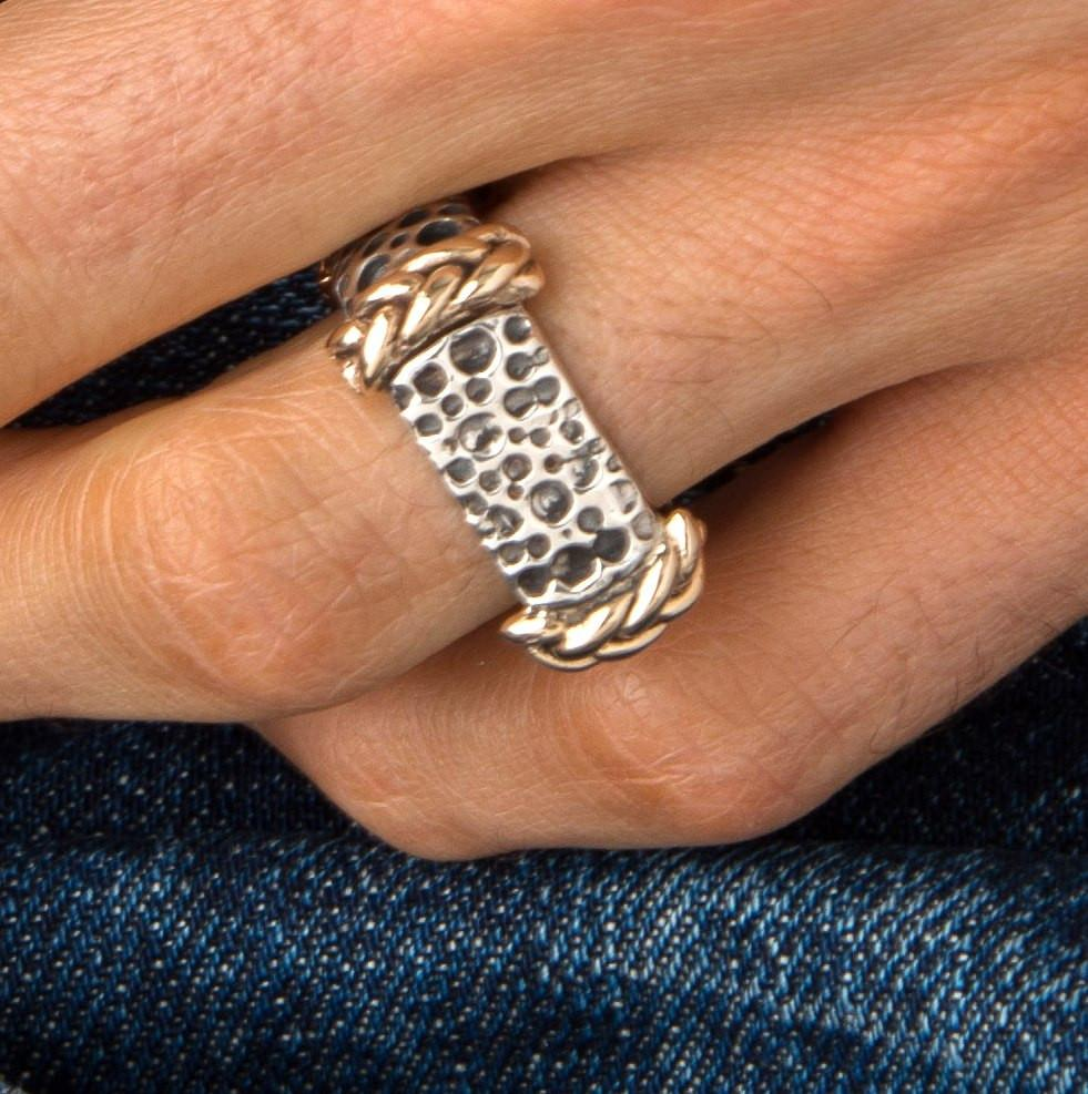 Men's Crater Center Ring with 14k Gold Rope Corners-RB7215