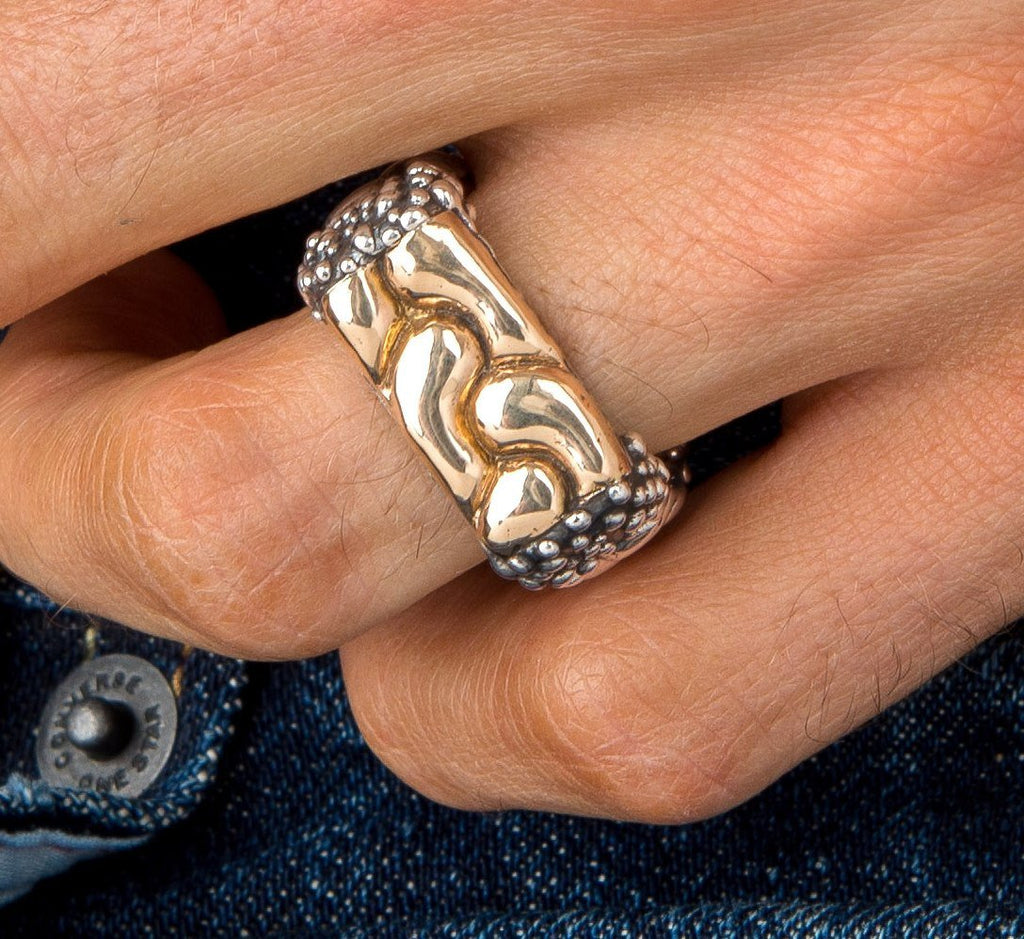 Men's 14k Gold Rope Top and Caviar Ring
