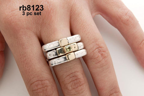 "Sterling silver ""instyle cross ring"" 3 piece stack set with 14k gold cross center"