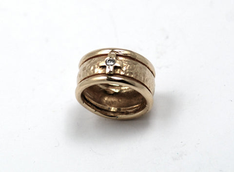 Mens 14k Gold Hammered Band with Cross & Diamond