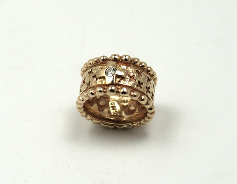 Mens 14K Solid Gold Ring with Crosses and Diamond Center-RGD8113