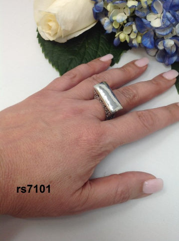 sterling silver wide texture bar top ring