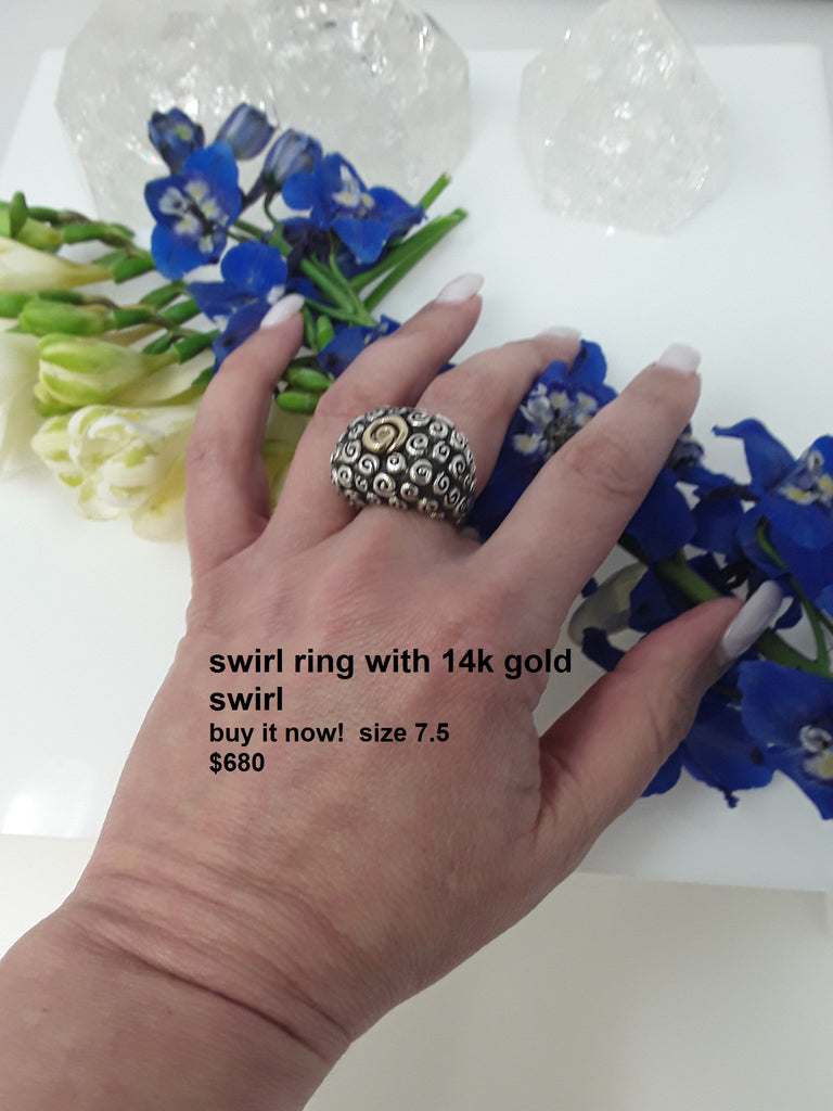 swirl ring with 14k gold swirl center   buy it now!  rb7182   size 7.5