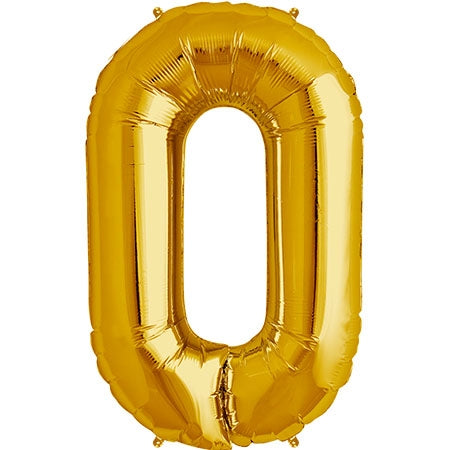 "34 "" Gold Number 0 Balloon"