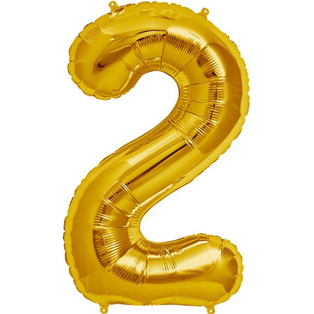 "34"" Gold Number 2 Balloon"