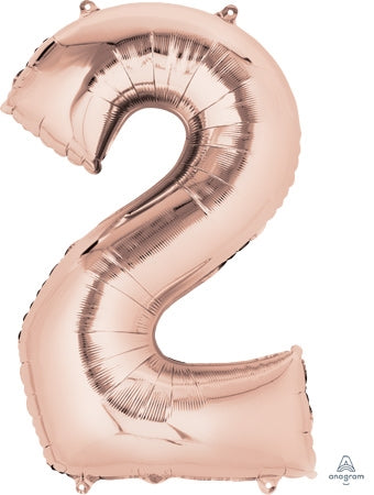 "34"" Rose Gold Number 2 Balloon"