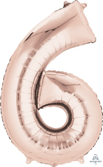 "34"" Rose Gold Number 6 Balloon"