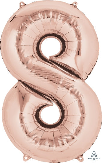 "34"" Rose Gold Number 8 Balloon"