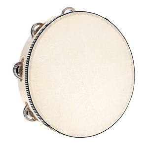 "Andoer® 10"" Hand Held Tambourine Drum Bell Birch Metal Jingles Percussion"