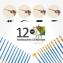 Artist Brush, 12 Pieces Paint Nylon Brushes Set with 2 Palettes for Water colour