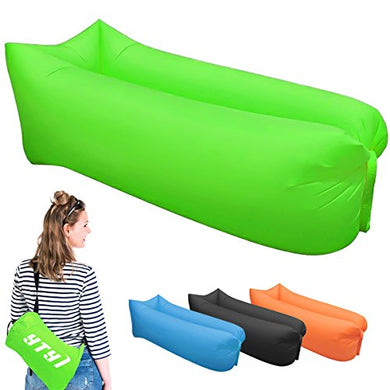 Inflatable Lounger - Portable Air Beds Sleeping Chair Sofa Couch (green)