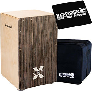 SCHLAGWERK CP150 X-One Vintage Walnut Cajon with Keepdrum Gig Bag and 01 Pad