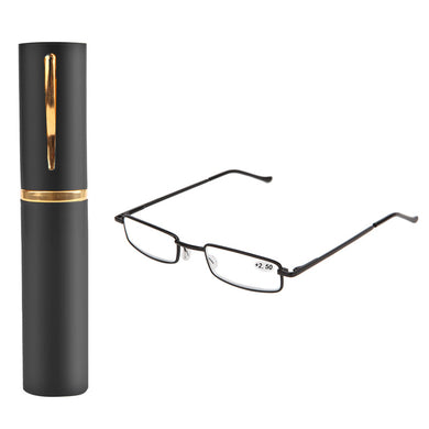 Unisex Stainless Steel Frame Resin Reading Glasses 1.00-4.00 With Tube Case -Y107