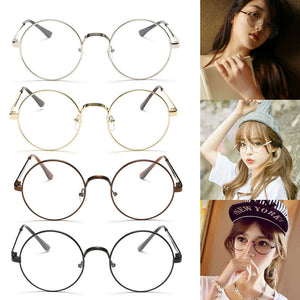 Chic Eyeglasses Retro Big Round Metal Frame Clear Lens Black, Silver, Gold, Copper