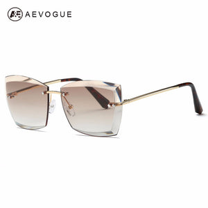 Women Square Rimless Diamond cutting Lens Sun Glasses With Box