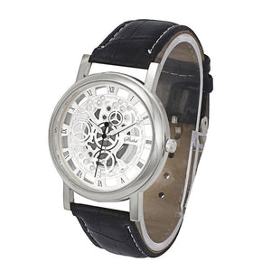 Hollow-out Steel leather strap Quartz Watch