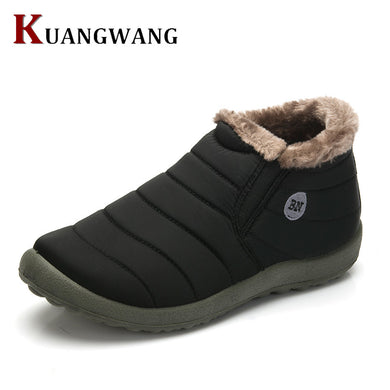 Mens Winter Shoes Solid Colour Snow Boots Plush Inside Anti skid Bottom Waterproof Ski Boots