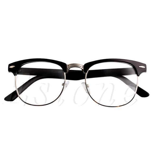 Metal Half Frame Glasses Frame Retro Unisex Reading Glass Clear Lens