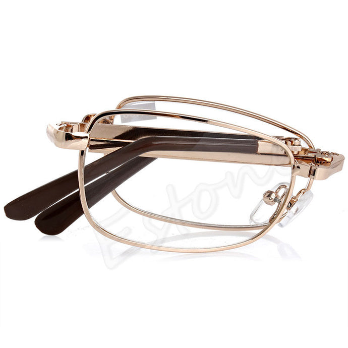 Unisex Folding Metal Reading Glasses +1.00 1.50 2.00 2.50 3.00 3.50 4.00 Diopter + Case