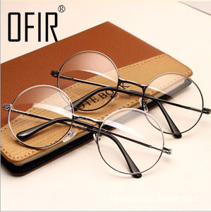 Vintage Glasses Frame Plain Mirror Big Round Metal Optical Frame