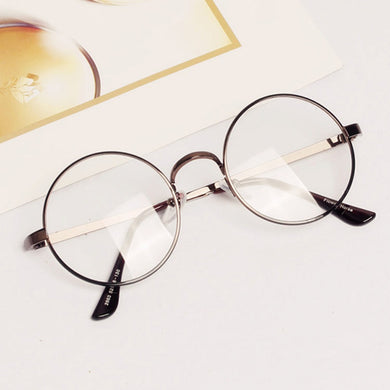 Unisex Round Metal Frame Clear Lens Glasses