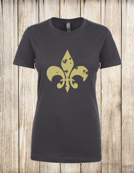 Fleur de lis, shirt, tee, top, ladies, charcoal, heather grey, white, gold, woman, women's, clothing