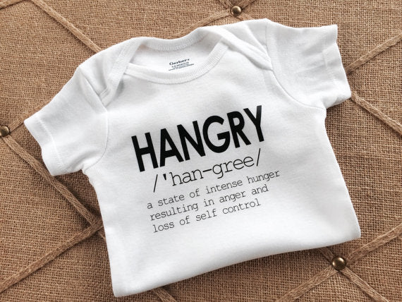Hangry, Onesie, bodysuit, shirt, baby, children, clothing, tops