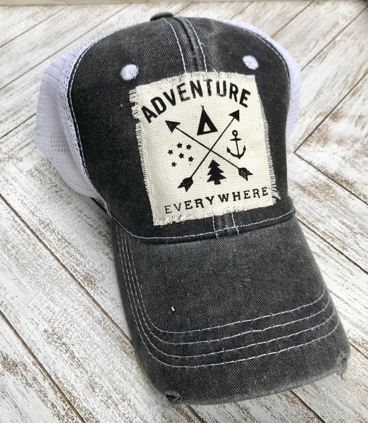 Adventure, hat, trucker, distressed