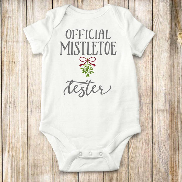 Mistletoe, Tester, bodysuit, creeper, Christmas, children, clothing, baby, tops, Holidays