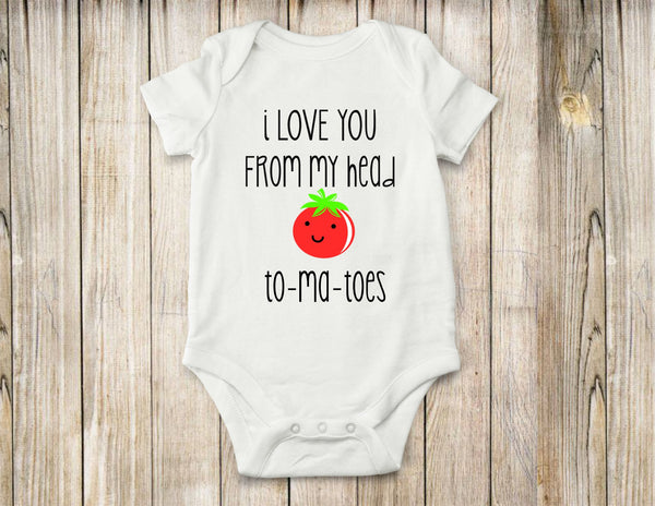 Love you, head, tomatoes, onesie, shirt, Baby clothes, Toddler clothes