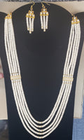 5-String Button Pearl Necklace Set with Cubic Zirconia Stones