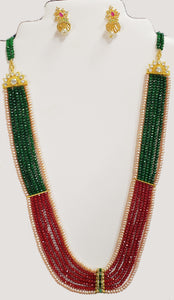 Peach Pearl and Ruby-Emerald Color Quartz Necklace Set #PERQ