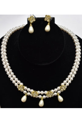 2-String Swarovski Crystal Pearl Necklace Set with Drops