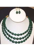 3-Strand Emerald Oval Necklace Set
