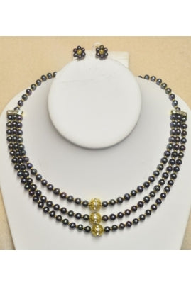 3-String Black Pearl Necklace with Flower-Shape Earrings.jpg