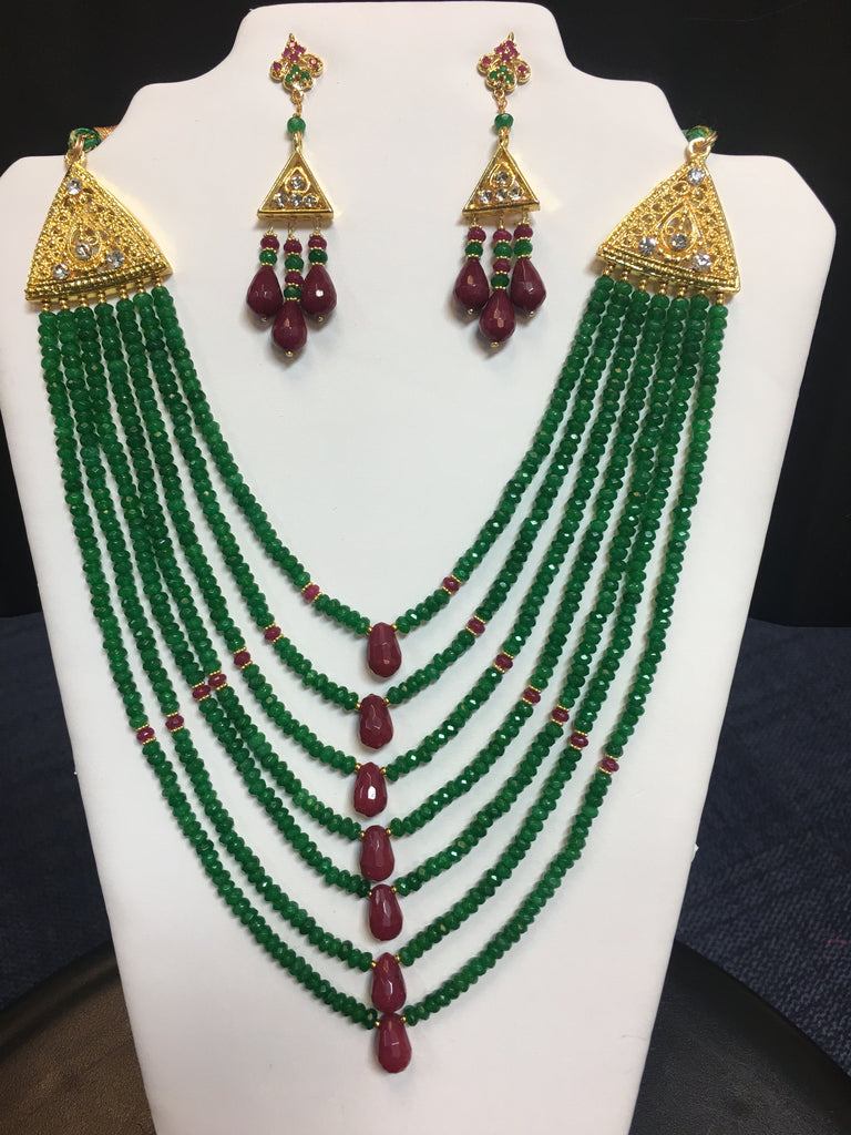 7-String Ruby and Emerald Color Jade Necklae Set