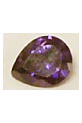 Dark Violet Cubic Zirconia Pear Shape 8mmx10mm
