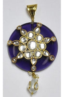 Amethyst-color Polki Pendant 40mm with Kundun-Work