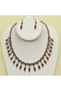 Amethyst Color Swarovski Cystal Drops Necklace Set #ASD-1