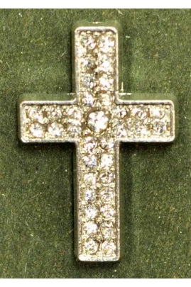 Silver Color Cubic Zirconia Cross (33mm x 22mm)