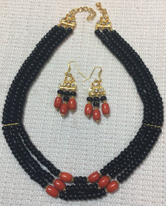 Black Onyx Roundel and Red Coral Drum Necklace Set