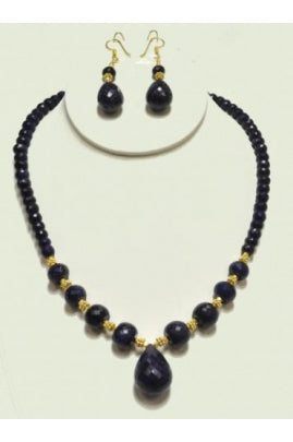 Blue Sapphire Necklace with Blue Sapphire Drops Set #BSND