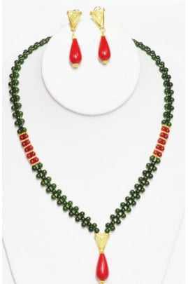 Coral and Jade Necklace with Drops #RCJ-2