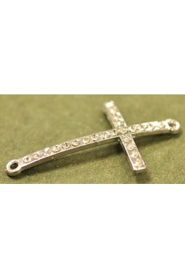 Silver-Color Cubic Zieconia Curved Cross (44mm x 24mm)