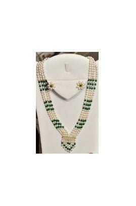 4-String Freshwater Rice Pearl and Faceted Jade Mohan Mala Set