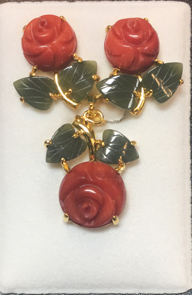 Red Coral Flat Flower and Jade Leaf Pendant Set #E-01