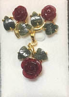 Ruby-Color Quartz Cubic Flower and Jade Leaf Pendant Set #E-03RQ